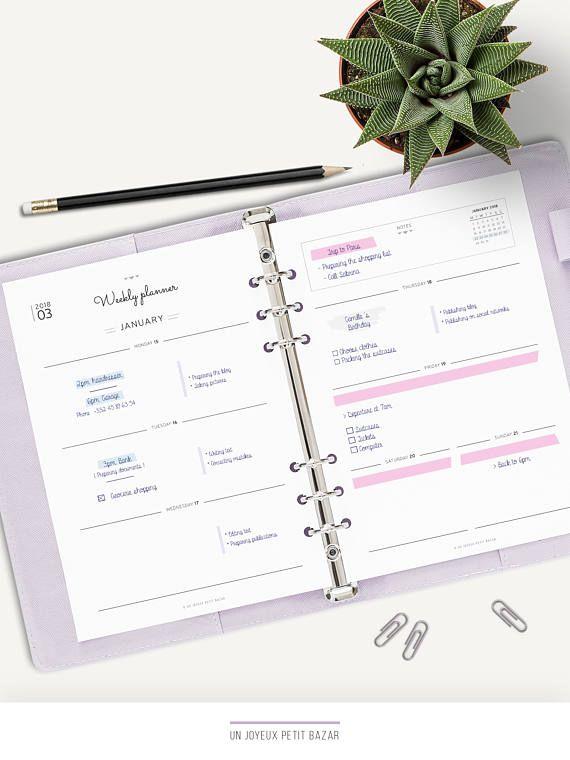 2018 2019 WEEKLY PLANNER, Printable, planner inserts, 2018 2019