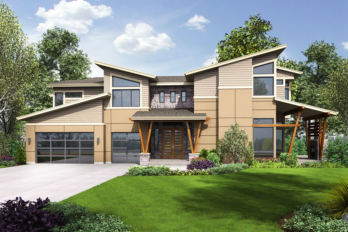 Modern house plan with sun patio and covered outdoor living areas 23677jd 2nd floor laundry 2nd floor master suite bonus room butler walk in pantry