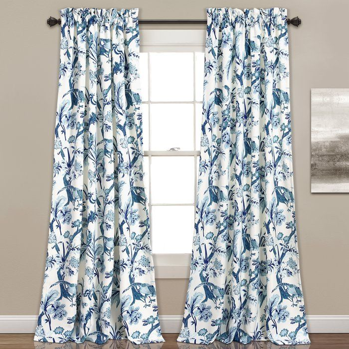 The Panagia Nature Floral Blackout Thermal Rod Pocket Curtain Panels Feature A Lively Design With Peacocks Fl Floral Curtains Curtains Room Darkening Curtains