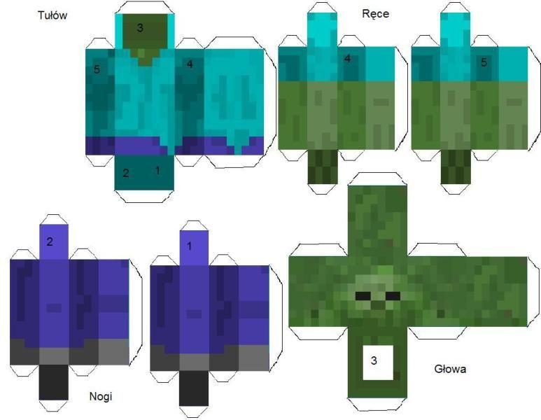 майнкрафт поделка из бумаги с двигающимися частями не цветные человеком
