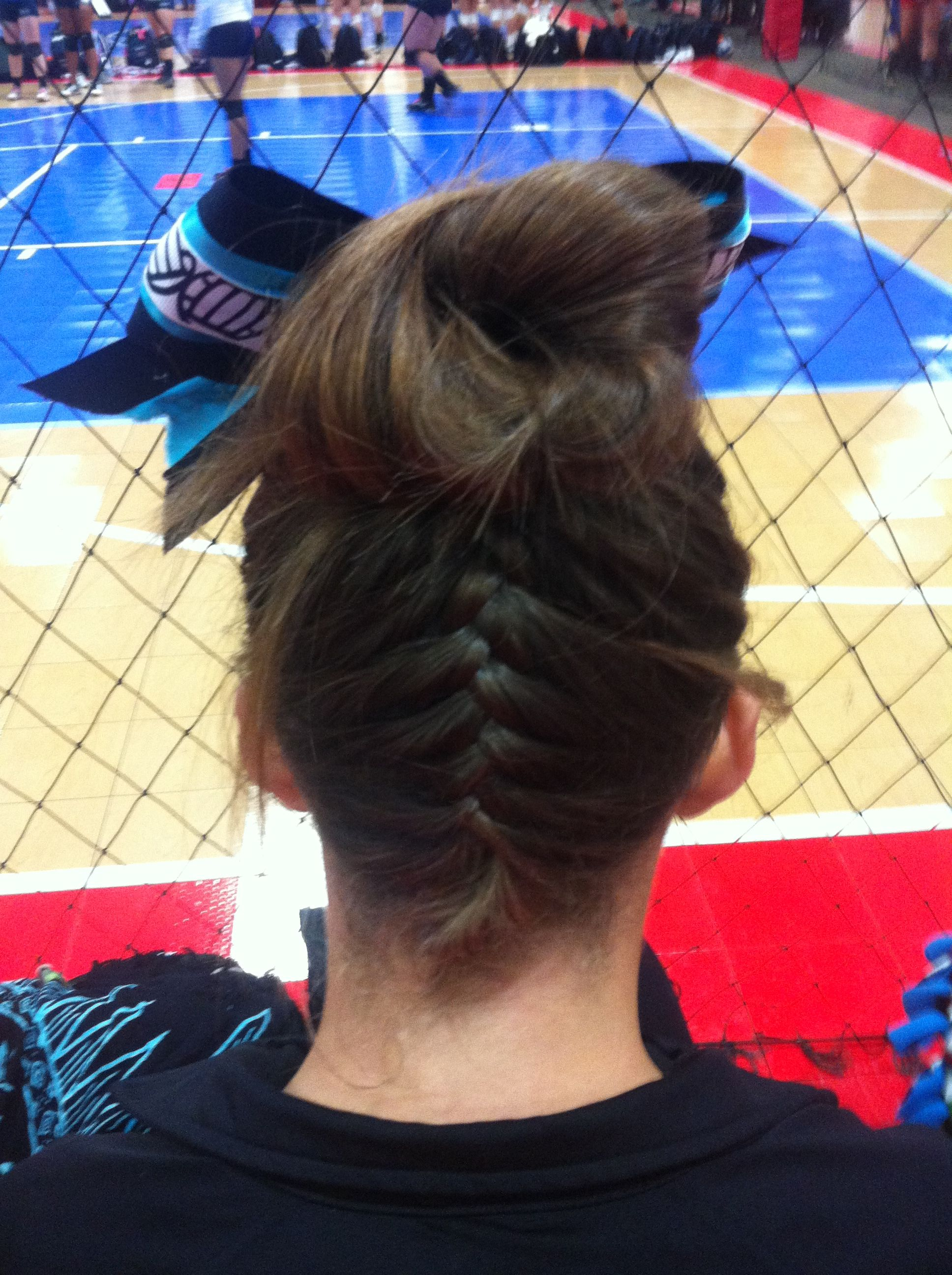 Love this hairstyle for volleyball volleyball braid bun bow