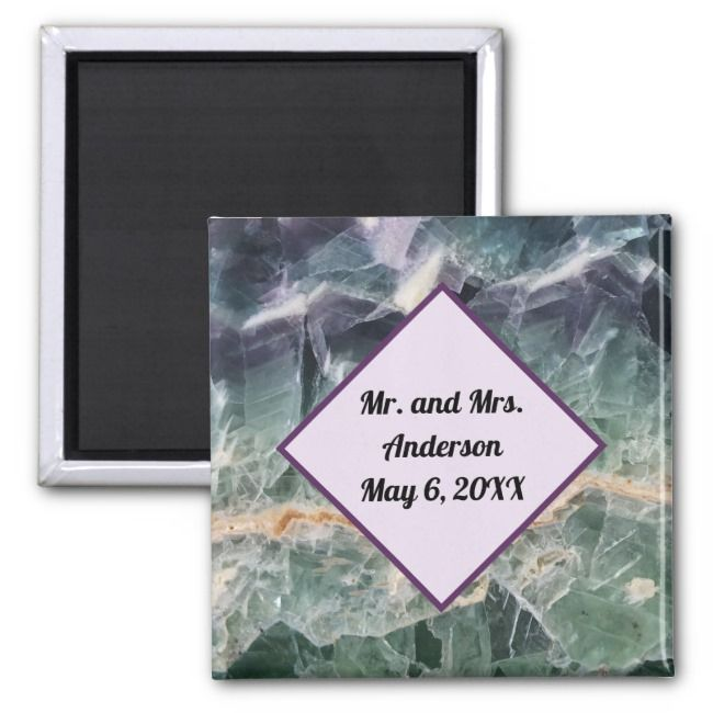 Wedding Ceremony Favor Fluorite Gem Photo Memento Magnet