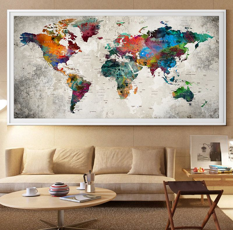Large world map wall art print large world map art extra large large world map wall art print large world map art extra large wall art watercolor push pin travel map poster l41 gumiabroncs Gallery