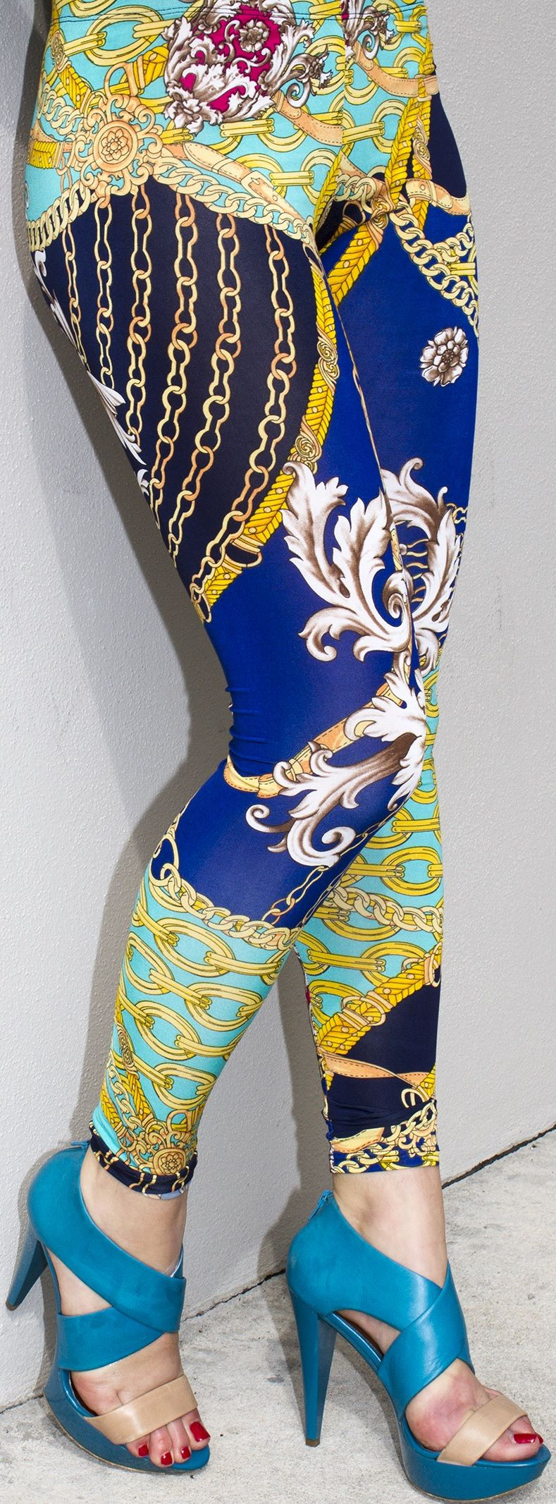 4ebd04166be0a We love our Versace inspired printed leggings in bold blue and multi  colors. Dress them up or down! The choice is yours.