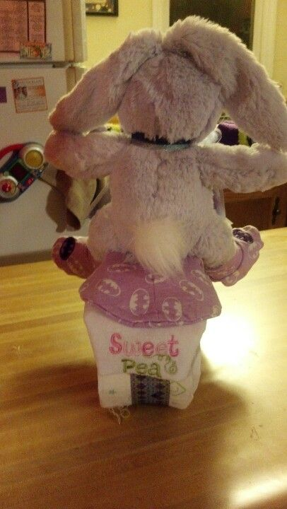 """The back side of a diaper motorcycle. """"Sweet pea"""" license plate. Cute!"""