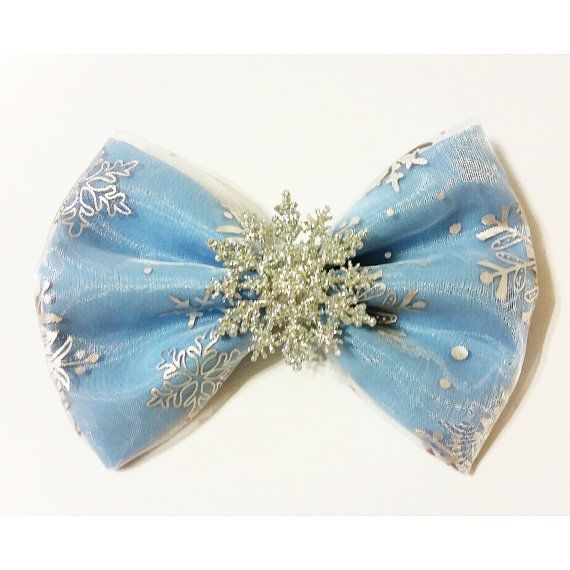 Items similar to Elsa Inspired Frozen Glitter Snowflake Fabric Hair Bow!, Perfect for Cosplay, & Dress Up. For Adults and Kids. on Etsy