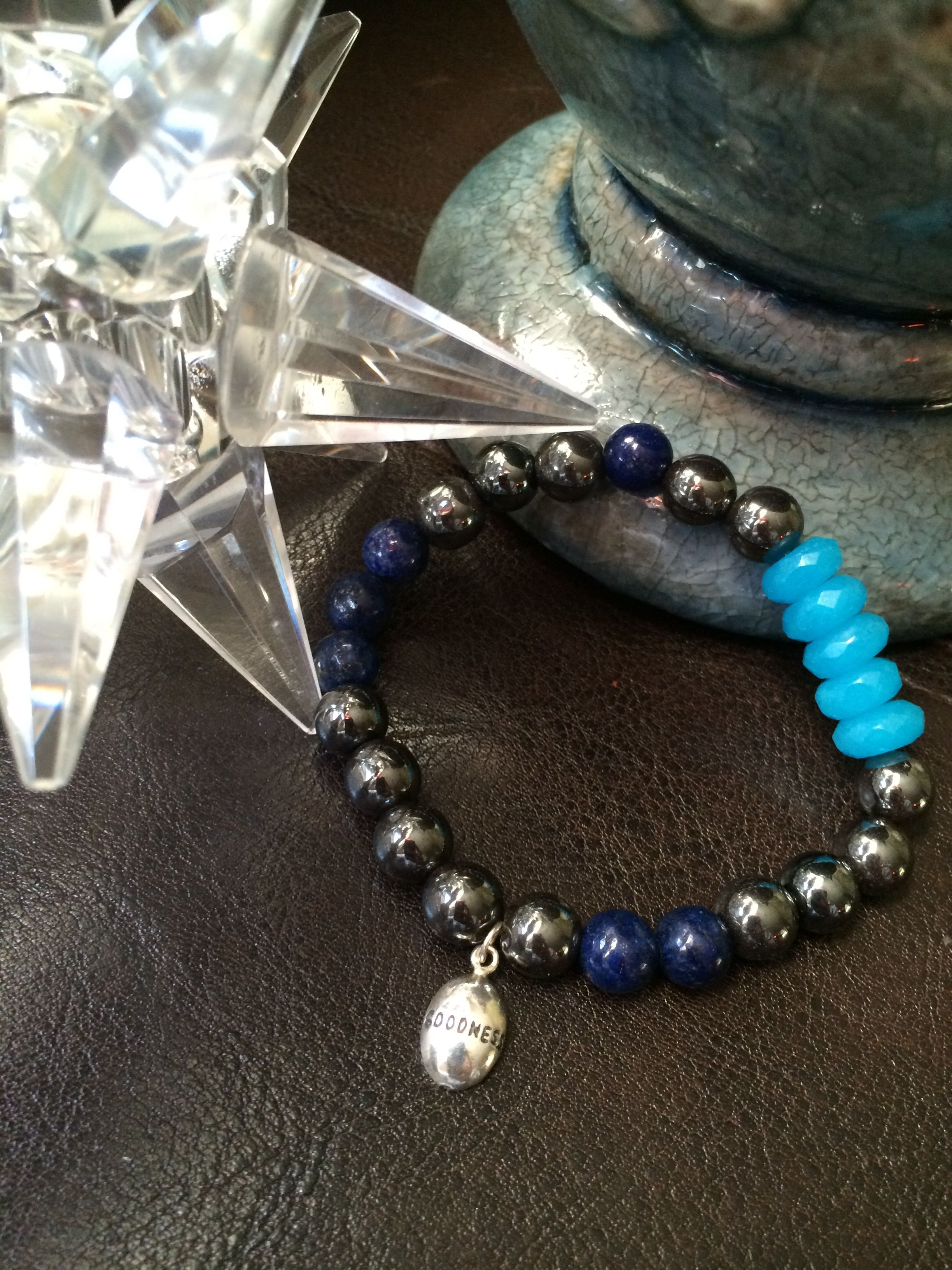 """Goodness is the only investment that never fails. - Henry David Thoreau  Hematite-balance; Lapis Lazuli-wisdom, Chalcedony-balance mind, body & spirit. Sterling 925 """"Goodness"""" charm. 7 inches unless another size is requested."""