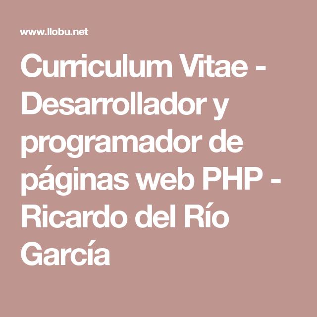 Curriculum Vitae - Desarrollador y programador de páginas web PHP ...