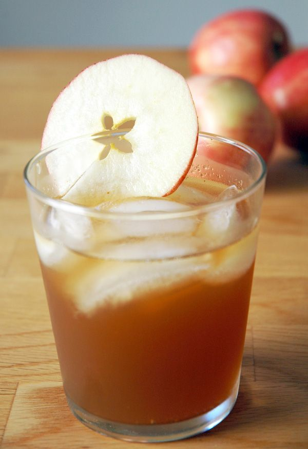 Ginger Ale, fresh cider, and bourbon in a 2:2:1 ratio... fall/winter drink YUM!