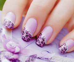 Purple leopard print french tips