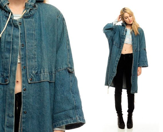 Hooded Denim Jacket Long GRUNGE 80s Jean Jacket Hoodie Blue Anorak ...
