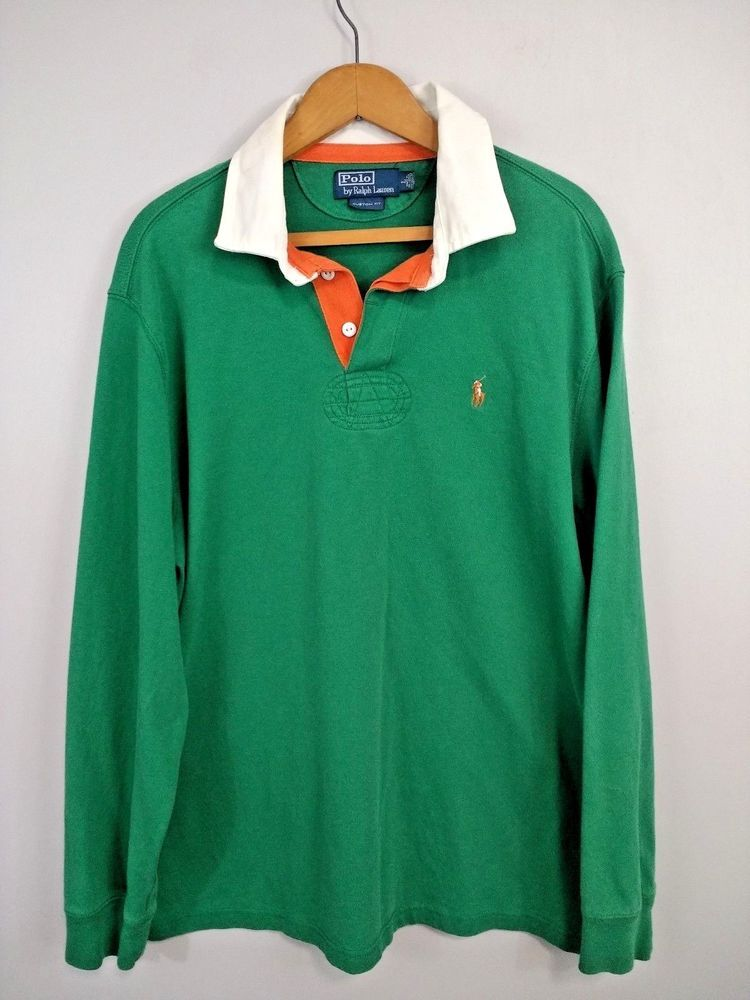 Vintage sz L Polo Ralph Lauren 90's Long Sleeve Striped Polo Rugby Shirt  Green