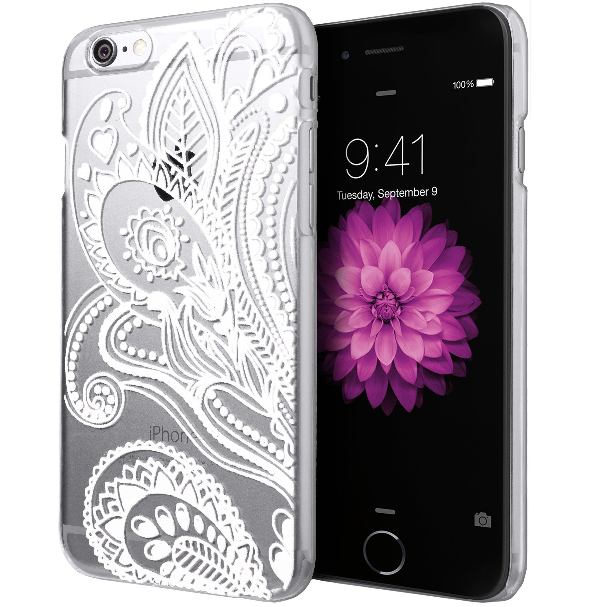 3376ba65be ... [Henna] Apple iPhone 6 Case Clear Design Floral Flower Pattern Premium ULTRA  SLIM Hard Cover for Apple iPhone 6 (4.7) - Black: Cell Phones & Accessories