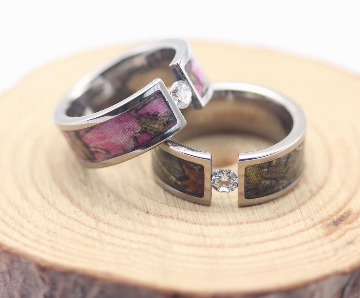 real diamond pink camo wedding rings - Camo Wedding Rings With Real Diamonds