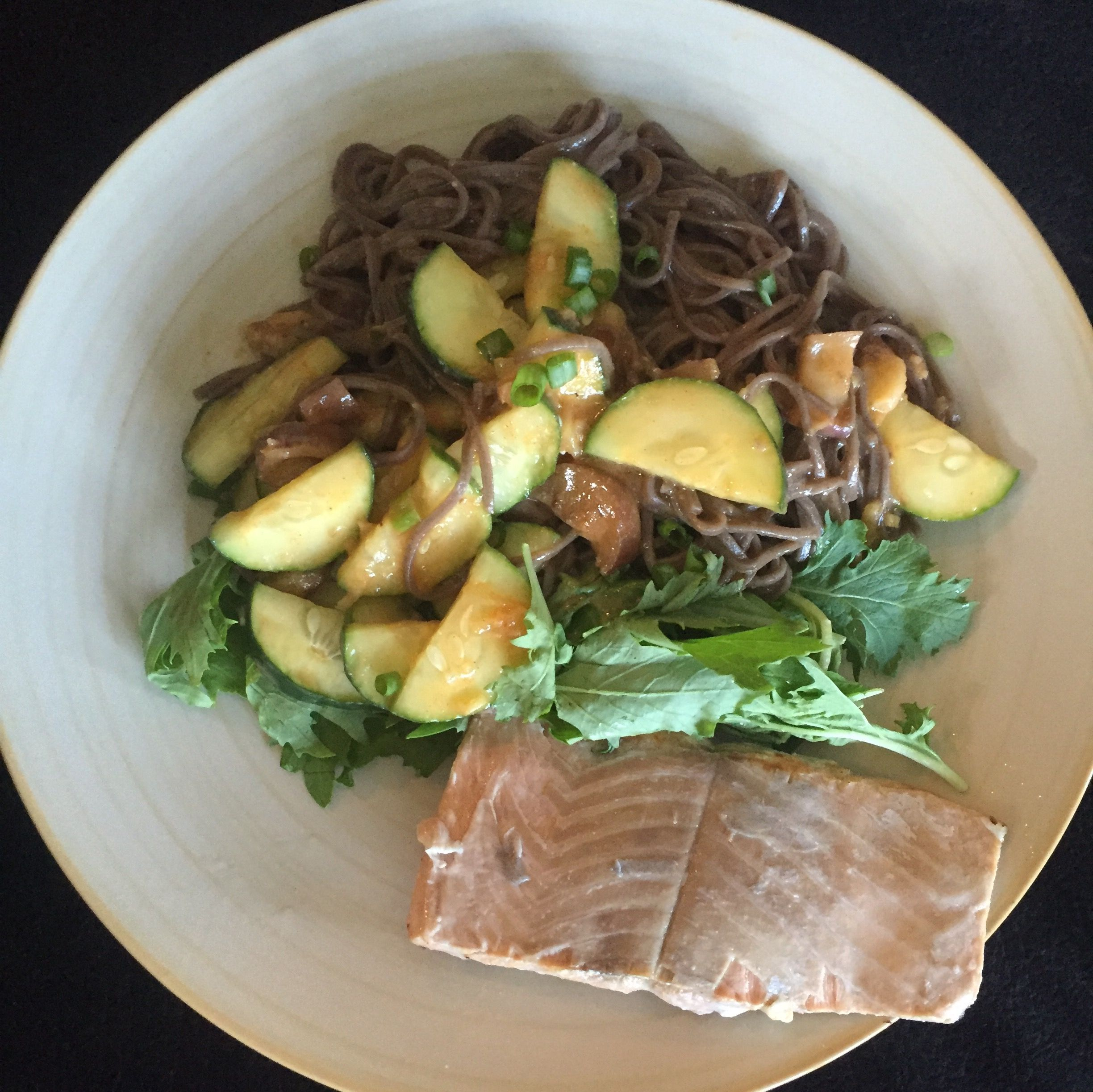 Blue apron salmon - Seared Salmon And Miso Soba Noodle Salad With Fairy Tale Eggplant And Baby Greens Blueapron