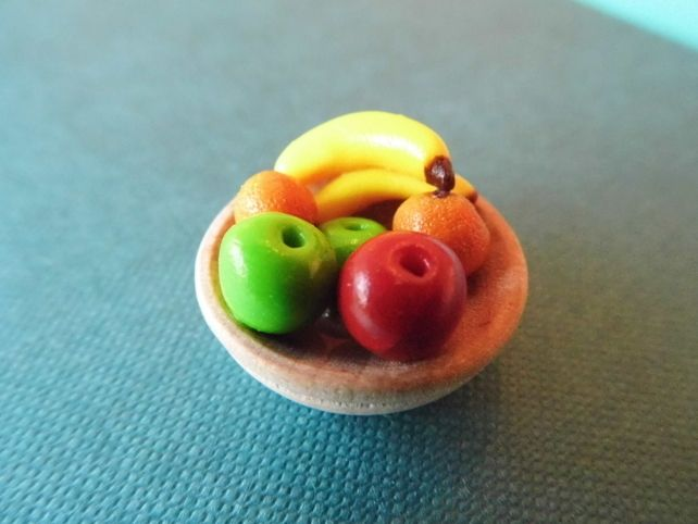 Large Wooden Fruit Bowl for Dolls house - Food - Polymer Clay - Accessories  £4.00