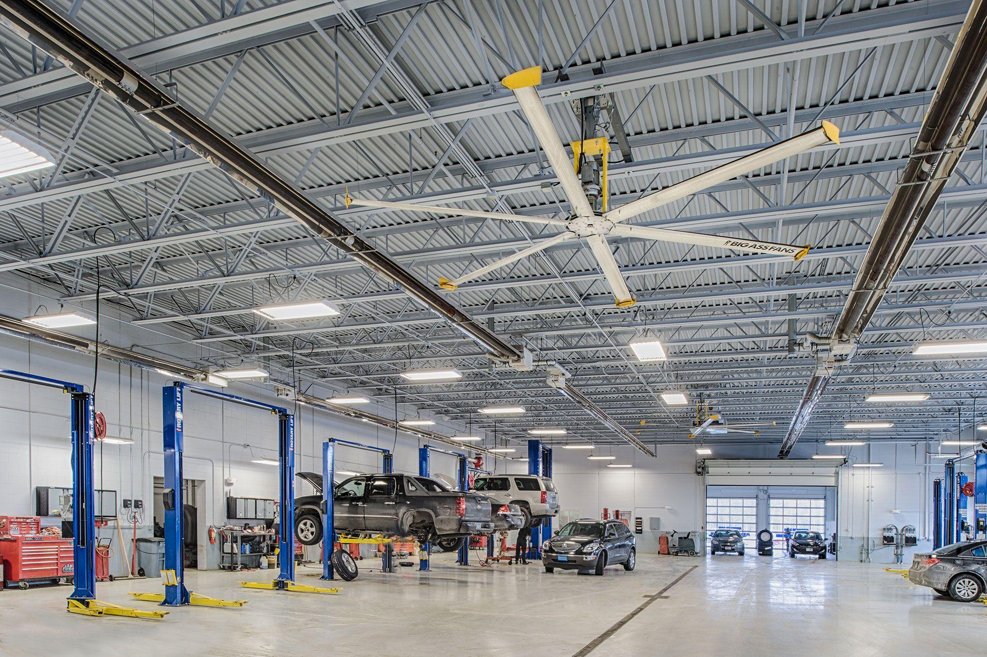 Large Industrial Ceiling Fans In Auto Showrooms Masterskaya