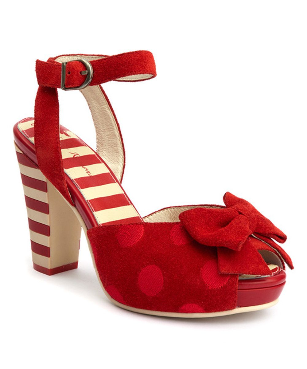 Look at this Red & Cream Stripe Bow Angie P Suede & Leather Sandal on #zulily today!