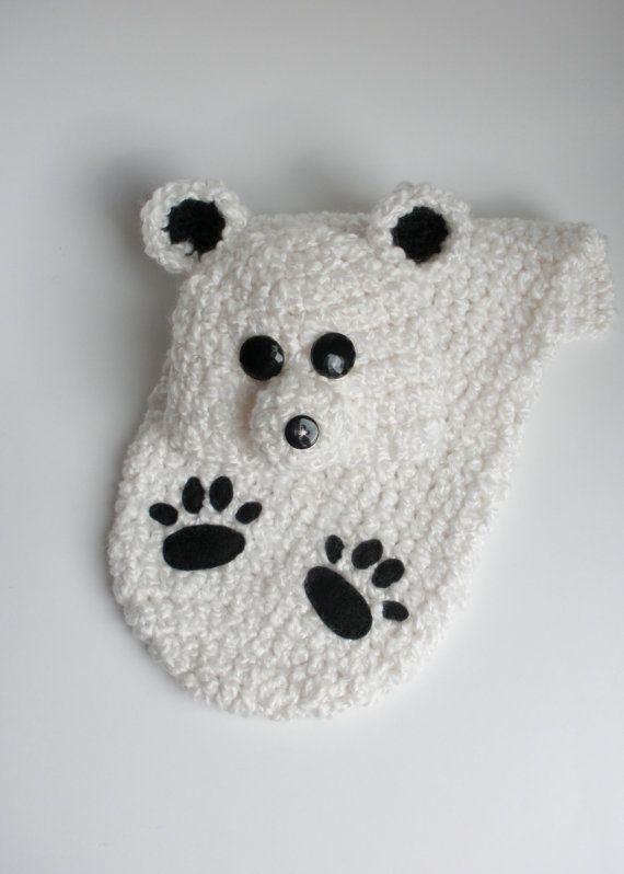 Winter Polar Bear Cocoon and Hat Set - Newborn Photo Prop   Crochet ...