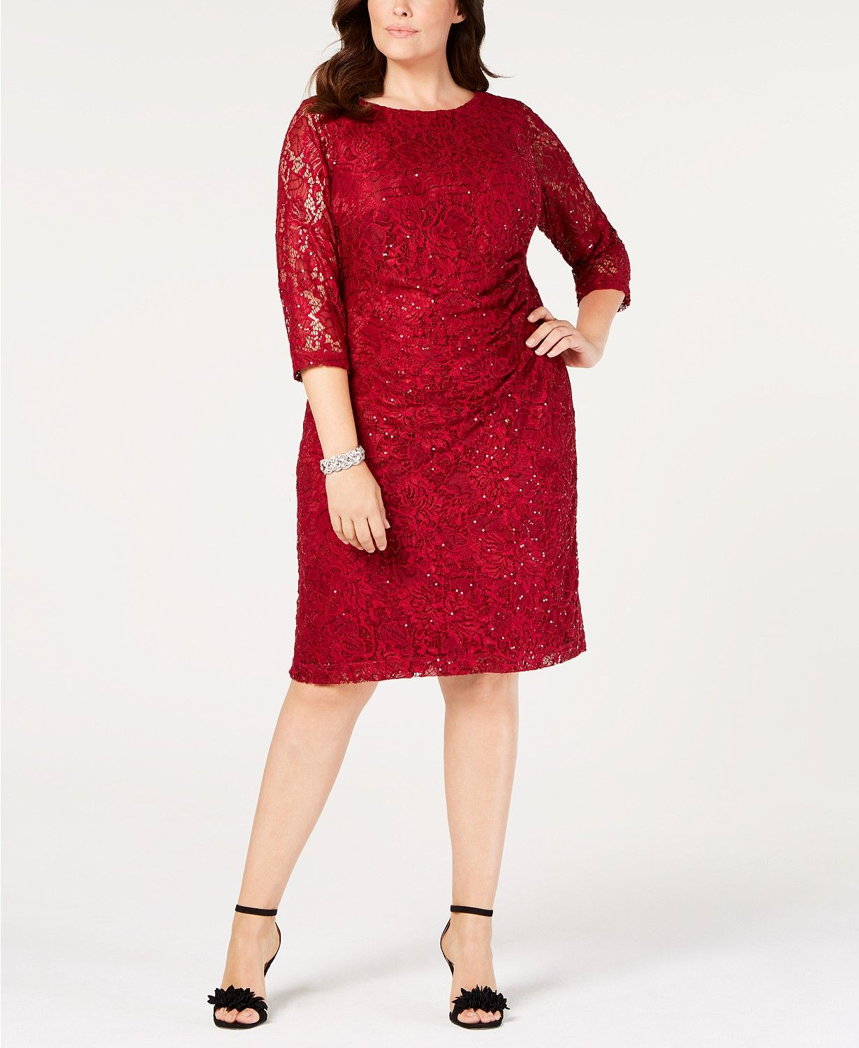 9974a56e5c8f Jessica Howard Plus Size Ruched Embellished Lace Dress - Dresses - Women -  Macy's
