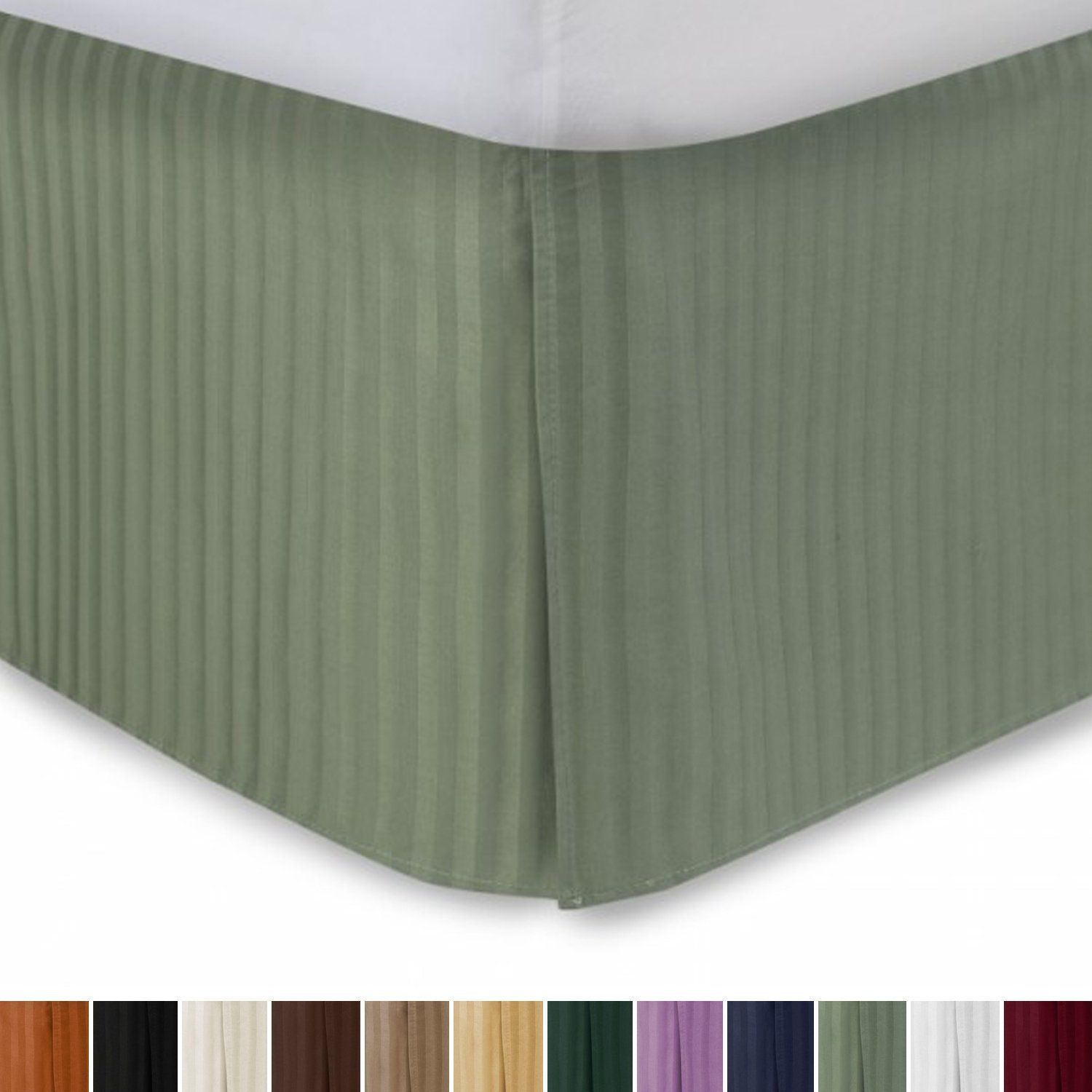 Harmony Lane Tailored Bed Skirt With 18 Drop Queen Size Sage Sa Stripe