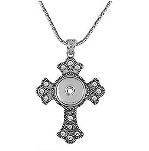 Ginger Snaps BLING CROSS NECKLACE SN90-79 Interchangeable Jewelry Snap Accessory