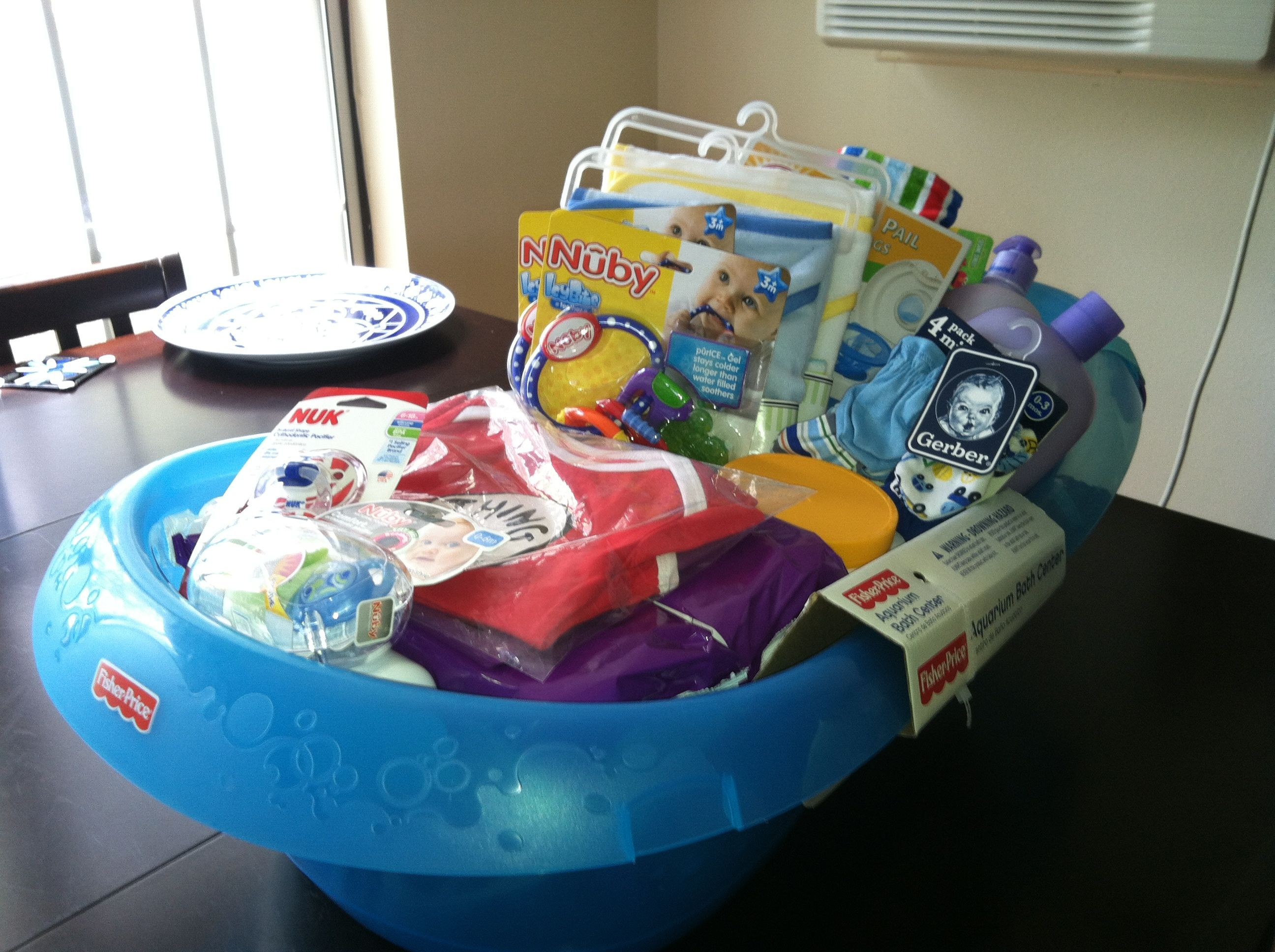 Baby Gift Baskets Boots : Baby bathtub gift basket baskets gotta love them