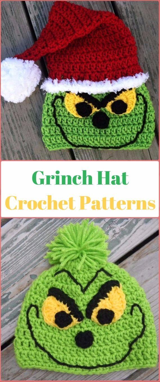 Crochet Christmas Santa Grinch Hat Paid Pattern - Crochet Christmas ...