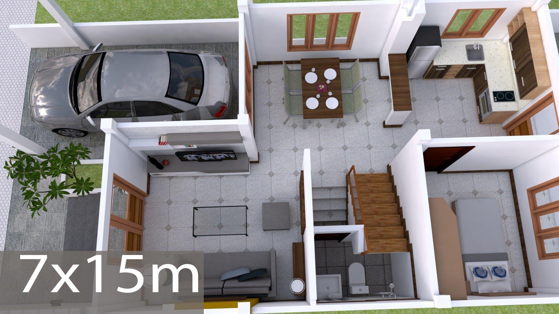 Interior Design Plan 7x15m Walk Through With Full Plan 4beds Home Design Plan Small House Design Plans Interior Design Plan