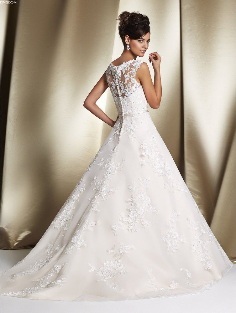 Ronald Joyce 68060 Robyn Lace Illusion Back Bridal Gown With Detachable Train