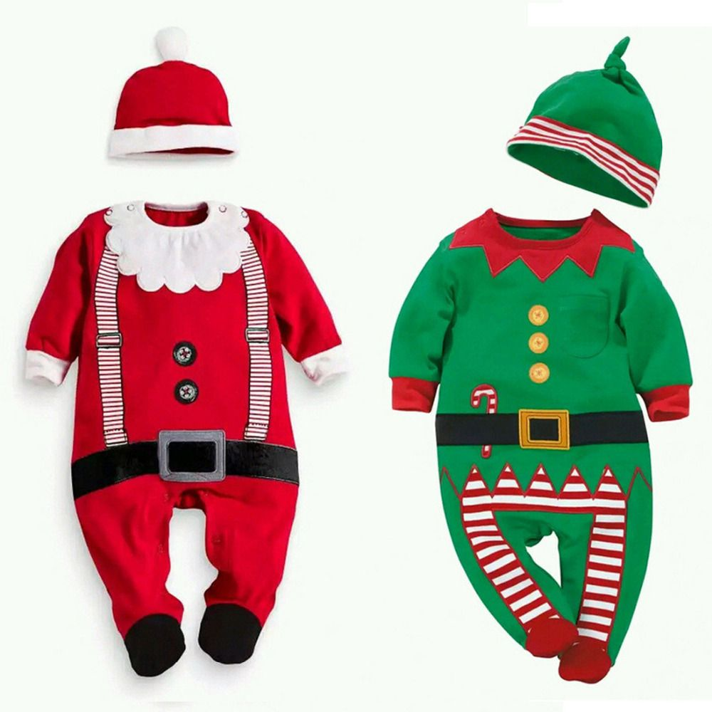 6bf69adc355 New Kids Long Sleeve Red Green Christmas Xmas Santa Claus New Year Holiday  Costume Clothes Rompers