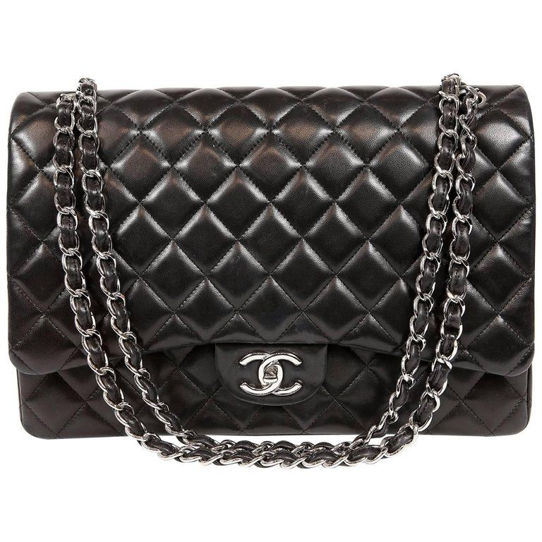 d890e3fcedd0 For Sale on 1stdibs - Chanel Black Lambskin Classic Maxi- MINT condition  The largest of