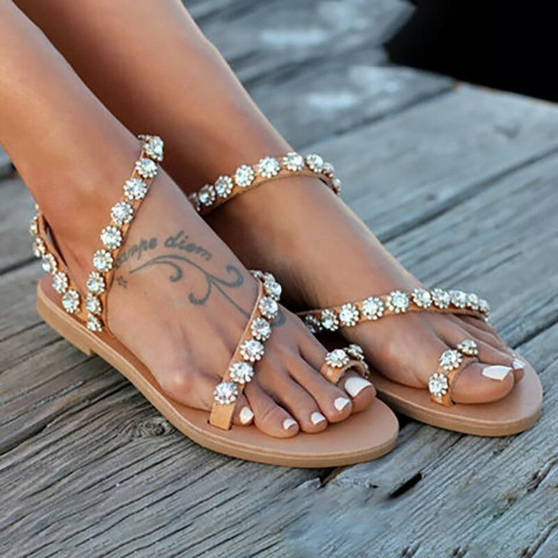 Photo of Women Flat Boho Sandals Flats Clip Toe Ring Casual Holiday Summer Beach Shoes