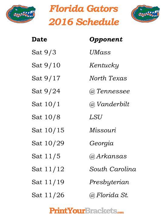 Printable Florida Gators Football Schedule Florida Gators - football roster template