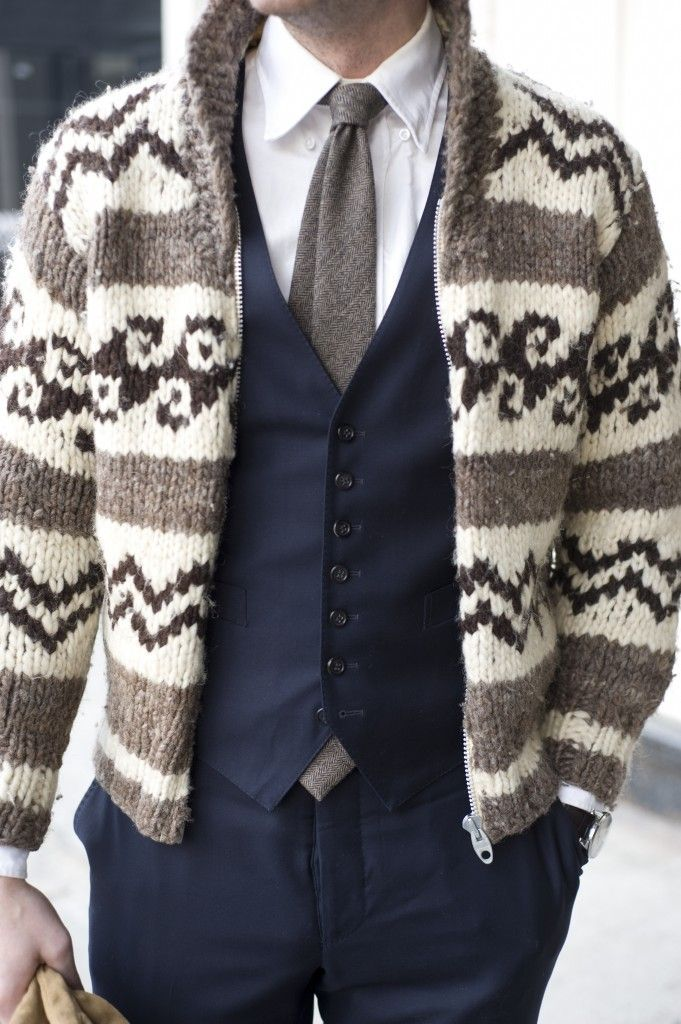 Men's Navy Waistcoat, Brown Fair Isle Zip Sweater, White Long ...