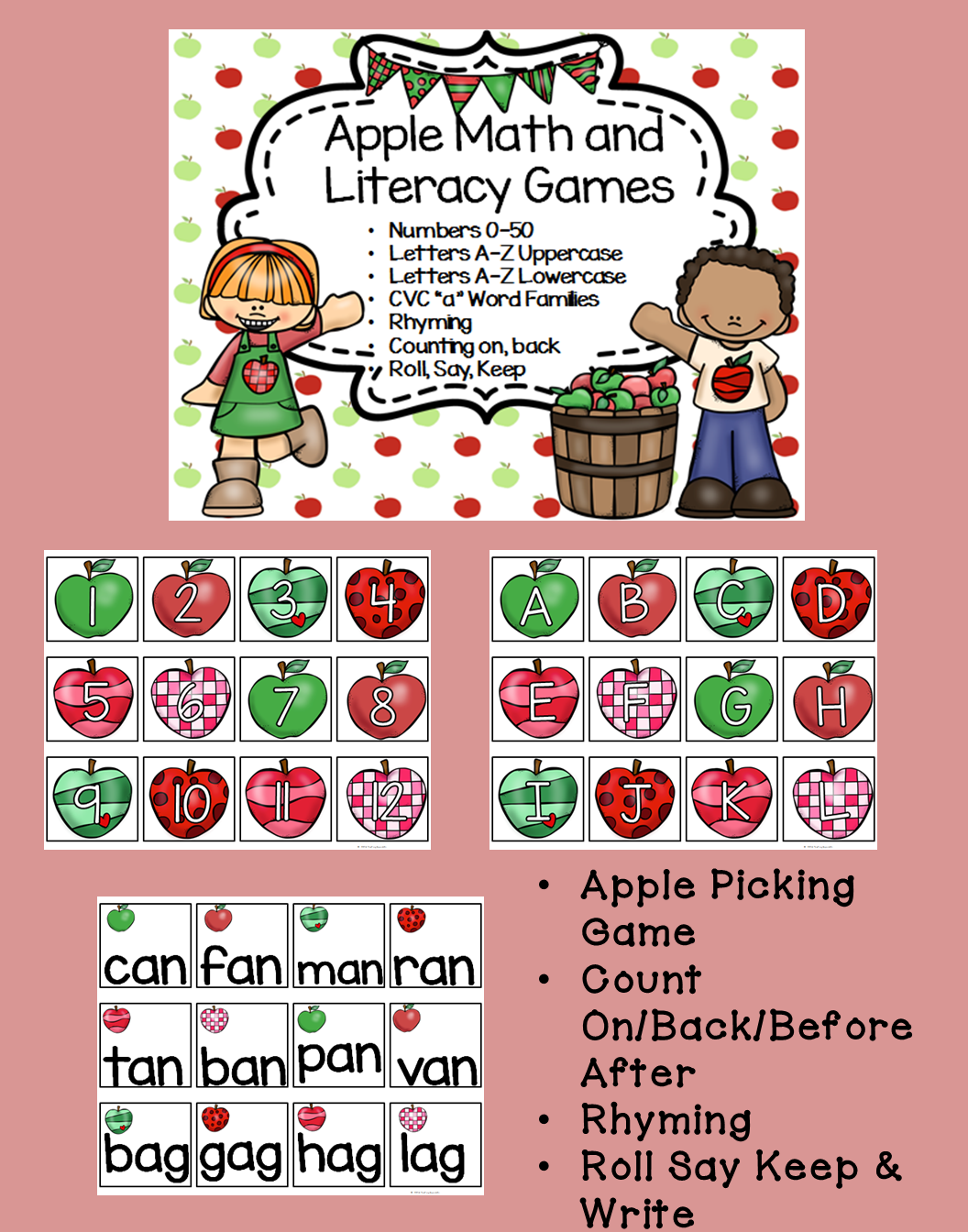 Back To School Apple Themed Math Amp Literacy Games Apples