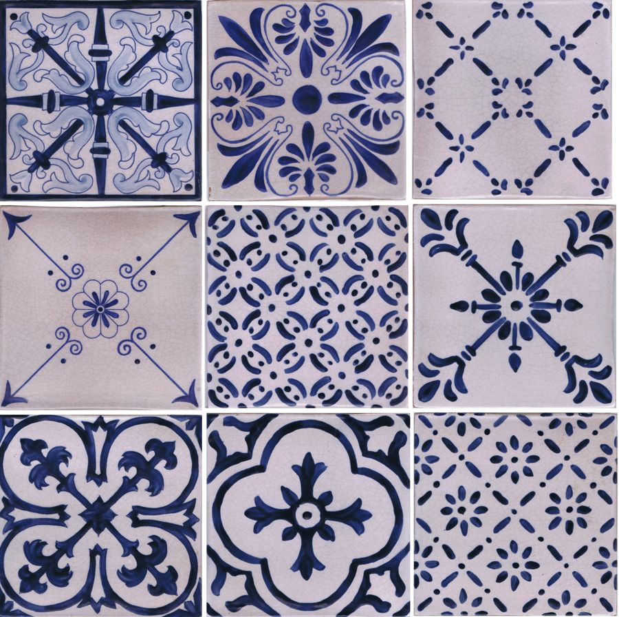 New line of blue and white tiles. Hand painted on Italian terra ...