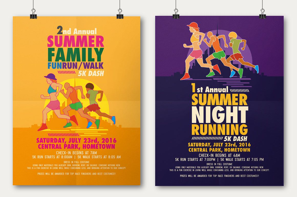 Summer Fun Run Flyer  Poster Template On Behance  Poster  Flyer