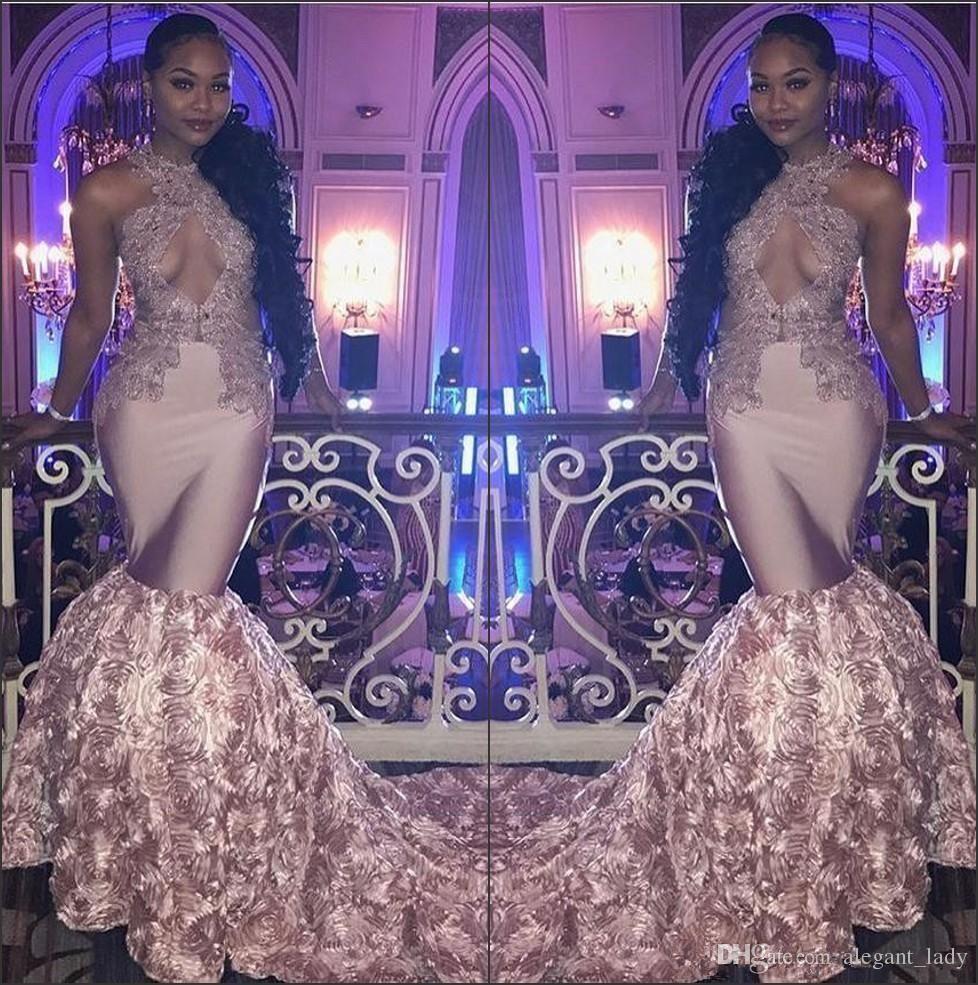 2018 Black Girls Halter Satin Mermaid Long Prom Dresses Rose Gold 3d