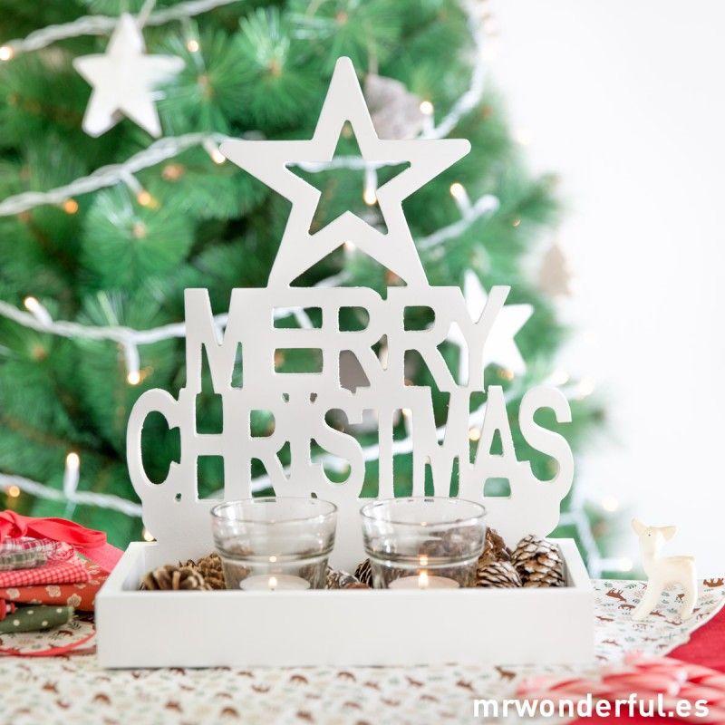 """Portavelas de madera blanca """"Merry Christmas"""". #christmas"""