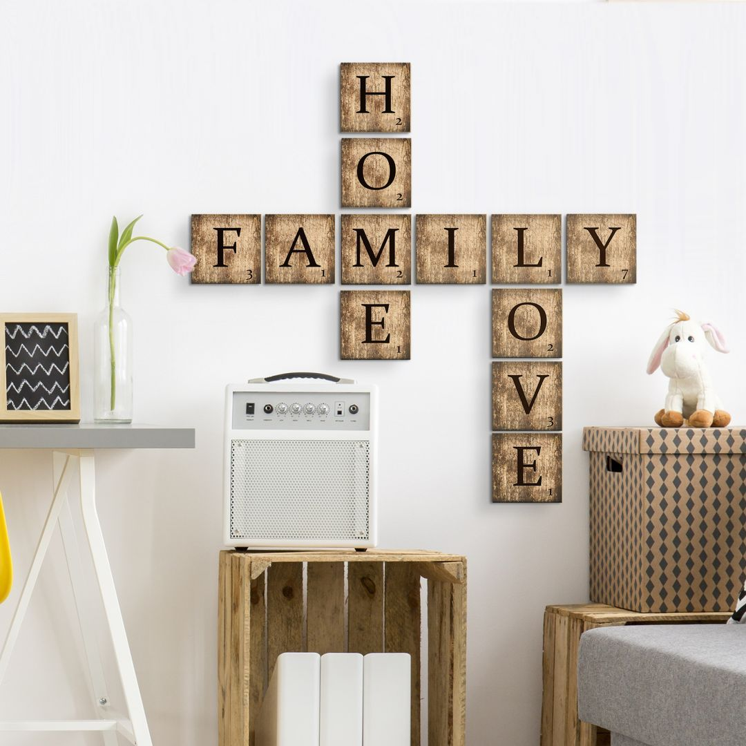 Lettere Da Appendere Al Muro lettere in legno – tasselli vintage tasselli in legno con