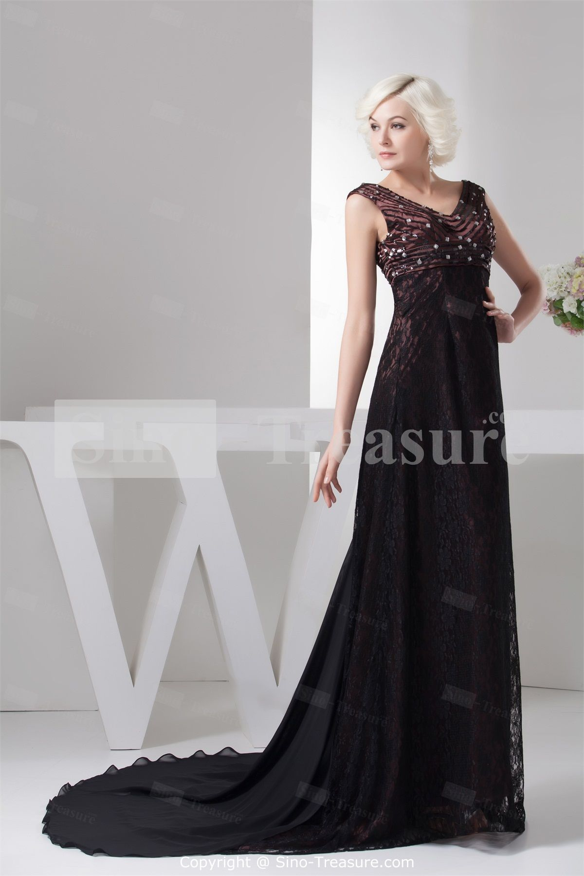 Red Brown/ Black Lace V-neck Capped Sleeves A-Line Beading Evening Dress -Wedding & Events-Special Occasion Dresses-Evening Dresses   US$199.99