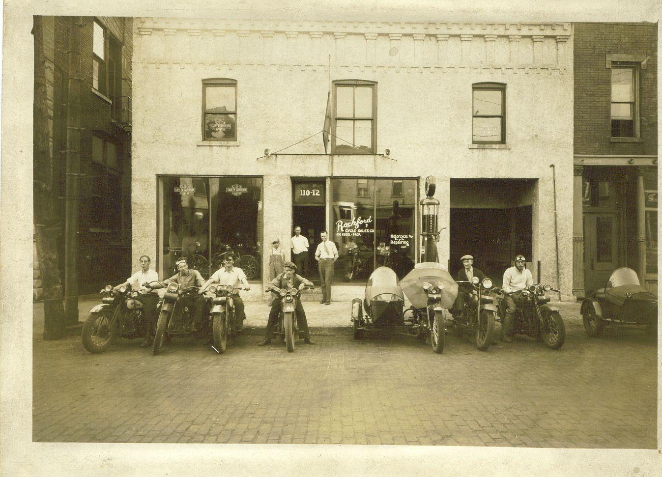 kegel harley davidson in rockford il on madison st circa 1930s