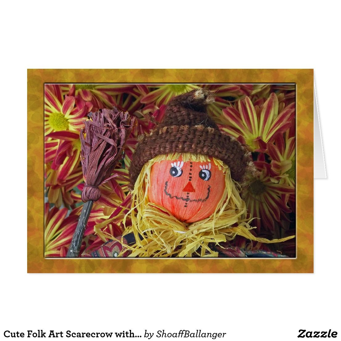 Cute Folk Art Scarecrow with Thanksgiving Poem Holiday