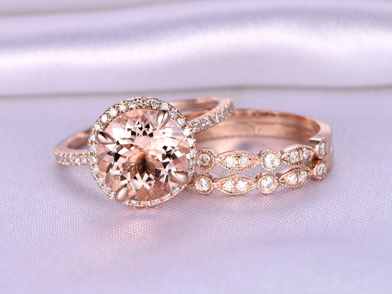 3pcs 9mm Big Morganite Wedding Ring Set,Engagement ring,14k Rose ...