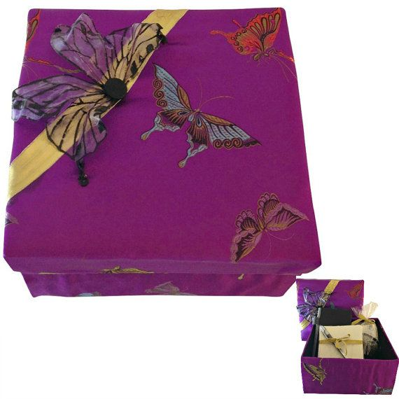 Decorative Stationery Boxes Purple Fabric Box Mother's Day Gift Birthday Gift Decorative