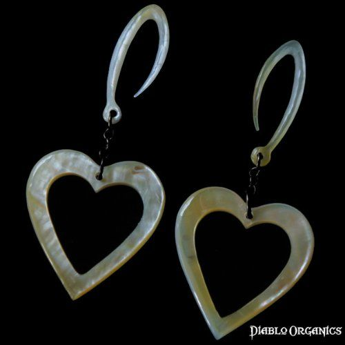 Adorable!! Amazon.com: 12 Gauge (2mm) Open Heart Natural Mother of Pearl Dangle Earrings: Diablo Organics: Jewelry
