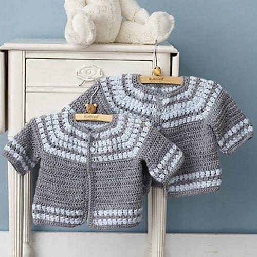 Chorrilho De Ideias Casaquinho Bb Cinza E Branco Em Crochet