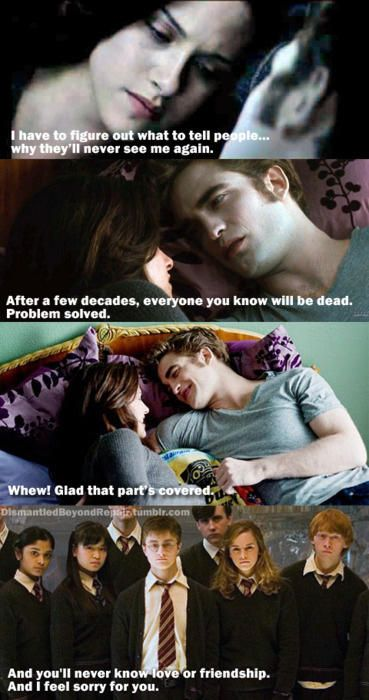 Ahaha This Is One Of The Reasons Why Harry Potter Twilight Twilight Funny Harry Potter Vs Twilight Twilight Memes