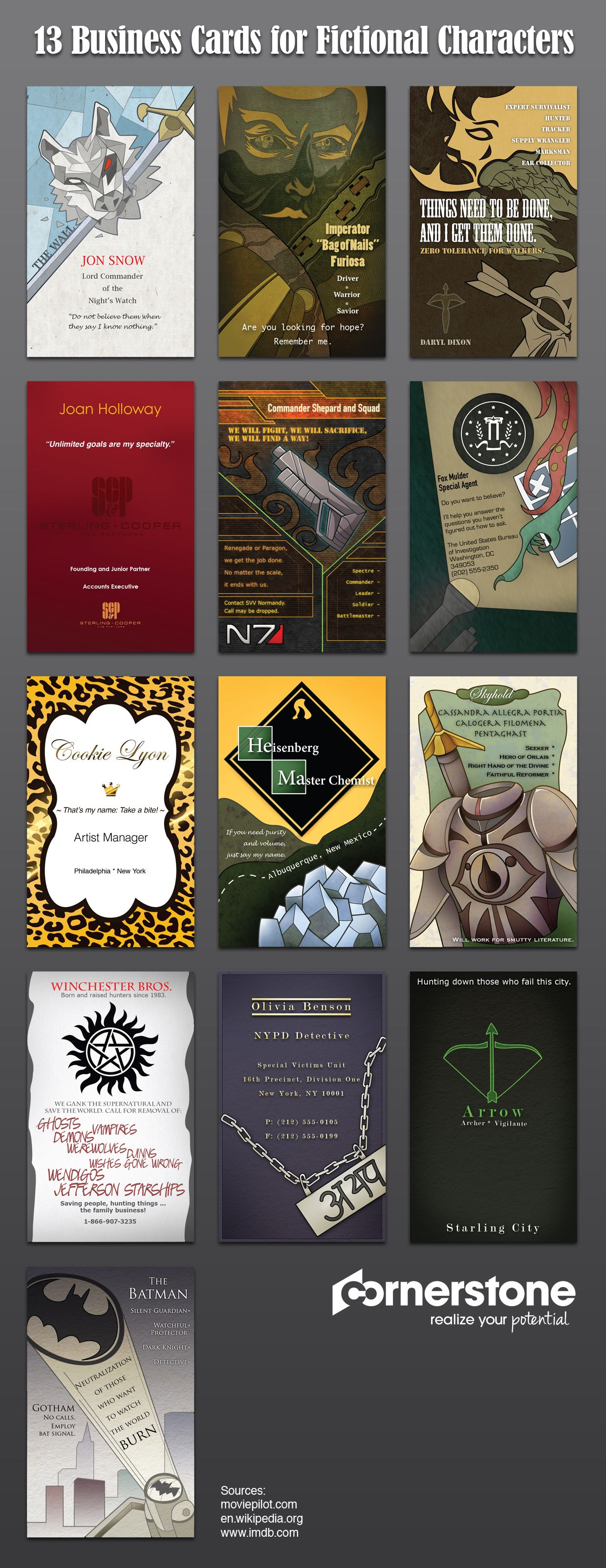13 Business Cards for Fictional Characters #infographic